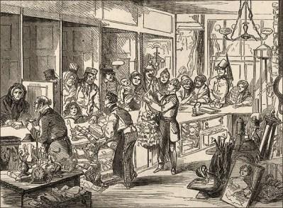 Zeichnung: großer Andrang im Pfandhaus - 1859, Engl.