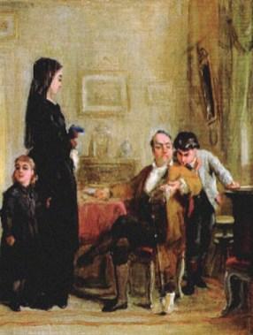 Gemälde: Verleiher betrachtet mit skeptischem Blick Schmuck einer Witwe - 1875