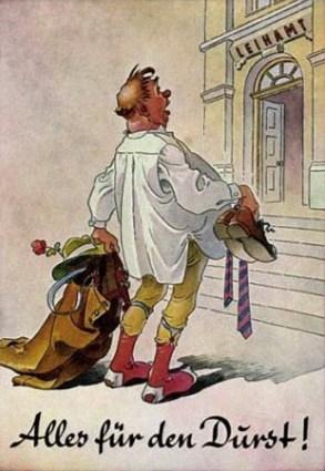 Humor-Postkarte: Mann in Hemd auf Socken mit Kleidung in Händen + Text: Alles für den Durst!