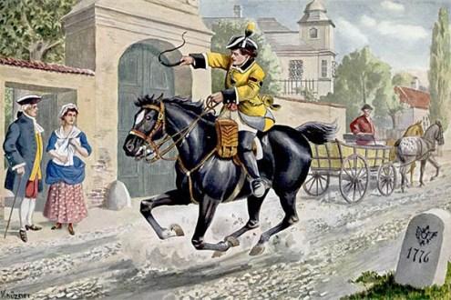 Farblitho: eilig durch Stadt galoppierender Bote - 1776, Österreich