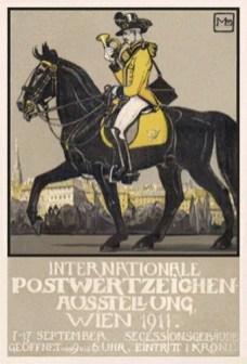 Werbekarte mit Postreiter - 1911, Wien