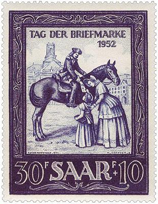 Saar-Briefmarke (1952): Bote auf Pferd reicht Mädel einen Brief herunter