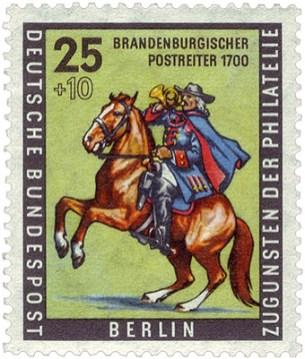 Briefmarke: Bote auf sich aufbäumenden Pferd - 1700