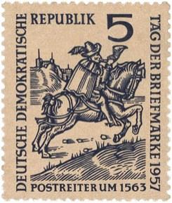 Briefmarke: Bote reitet ins Horn blasend über Land - 1563