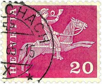 Schweiz.-Briefmarke (1960): Bote bläst beim Reiten ins Horn