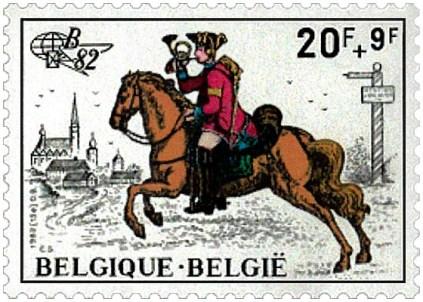 Briefmarke: Bote reitet ins Horn blasend auf eine Stadt zu - 18. Jh