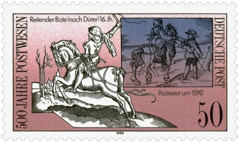 Briefmarke: 1. Dürer's 'Kleiner Postreiter' / 2. weiterer reitender Bote - 16. Jh