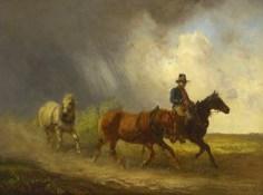 Gemälde: reitender Bote mit 2 weiteren Pferden im Schlepptau eilt vor Unwetter davon - 1850