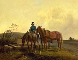 Gemälde: Bote mit 3 Pferden bei aufsteigendem Nebel an einer Tränke - 1850