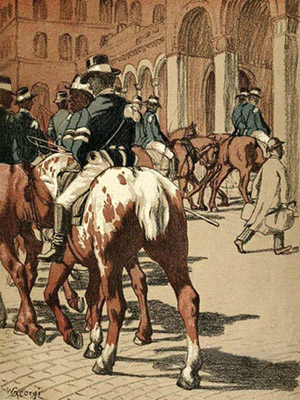 Farblitho: Paraderitt der Postreiter - um 1900
