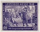 DDR-Briefmarke (1948): Tucher begutachten gegenseitig ihre Ware - 1469