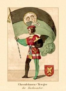kolorierter Stich: Mann schwingt eine Tuchmacher-Fahne - 1835