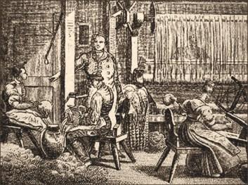 Holzstich: Aufbereitung der Wolle, Spinnen und Weben