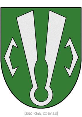 Wappen: auf grünem Grund eine Tuchschere aus einem Stück