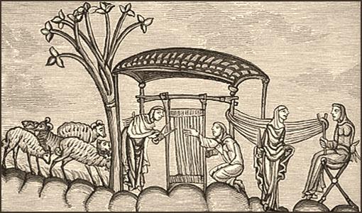 Holzschnitt: links Schafe - mittig Arbeit an vertikalem Webgestell - rechts Garnmacherinnen