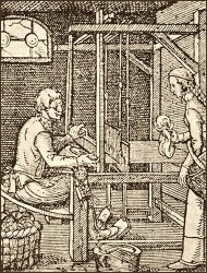 Holzschnitt: Tuchweber arbeitet am Webstuhl, Frau bringt Wollgarn