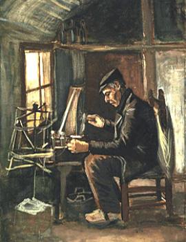 Gemälde: Mann fertigt und wickelt Garn - um 1880