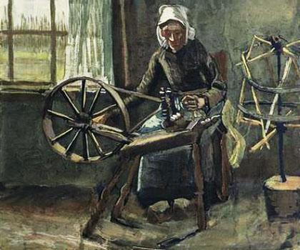Gemälde: Frau spinnt Wolle - um 1880