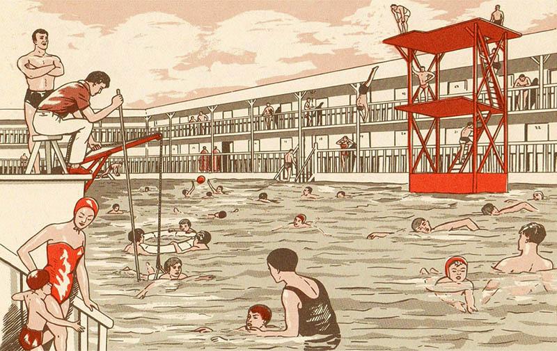 Farblitho: Bademeister am Beckenrand eines Schwimmbades