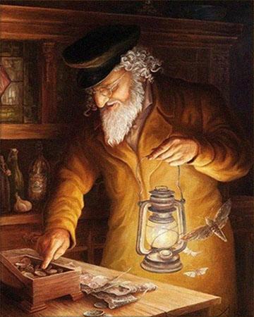 Gemälde: Mann mit Petroleumlampe in einer Hand überprüft Geldbestand - 19. Jh