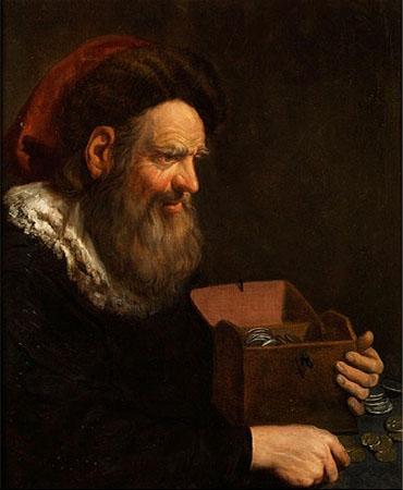 Gemälde: Mann an Tisch zählt Münzen in kl. Truhe - 1650