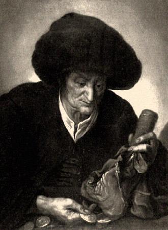 sw Gemäldefoto: vornehmer Alter mit Lederbeutel zählt Münzen - 1650