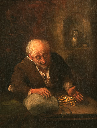 Gemälde: Mann zählt Goldmünzen in Säckchen - 1880