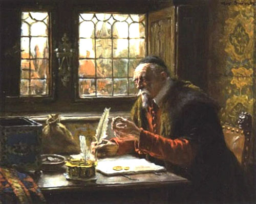 Gemälde: Geldzähler am Tisch vor Fenster mit Feder schreibend - 1900