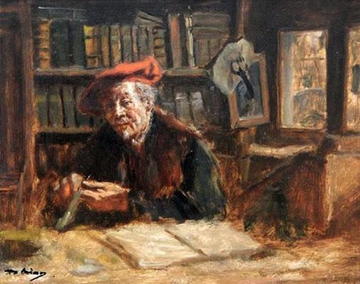 Gemälde: Münzzähler mit roter Kappe hinter Arbeitstisch - 1900