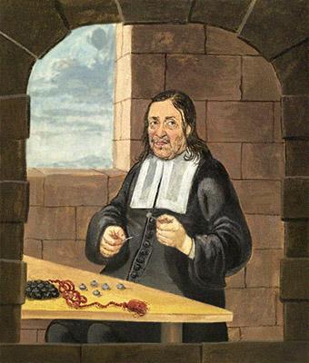 Buchmalerei: Mann bestickt am Tisch sitzend Knöpfe