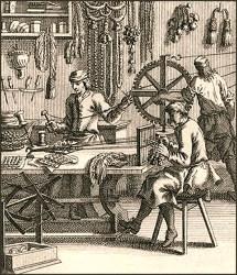 Kupferstich: drei Knopfmacher bei verschiedenen Arbeitsschritten