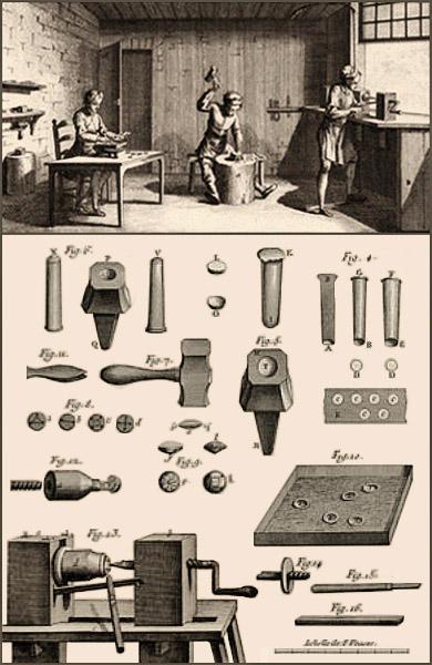 Kupferstich: Knopfmacher und ihr Werkzeug im 18. Jh