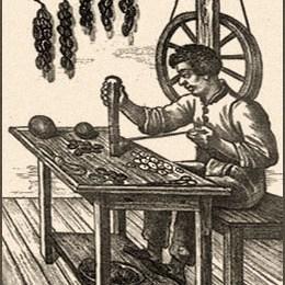 Litho: Knopfmacher arbeitet sitzend am Tisch