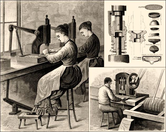 Kupferstich: zwei Frauen an Knopfpressen und Mann an Knopfstanze arbeitend