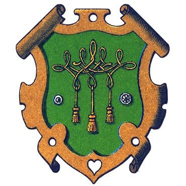 Wappen: Knöpfe u. verschlungene Kordel mit Quasten auf grünem Grund