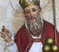 Hist. Darstellung: Der Heilige Nikolaus mit 3 goldenen Kugeln (Äpfeln)
