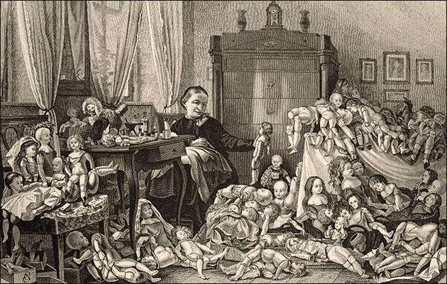 Kupferstich: Frau inmitten vieler, zu reparierender Puppen sitzend - 1874