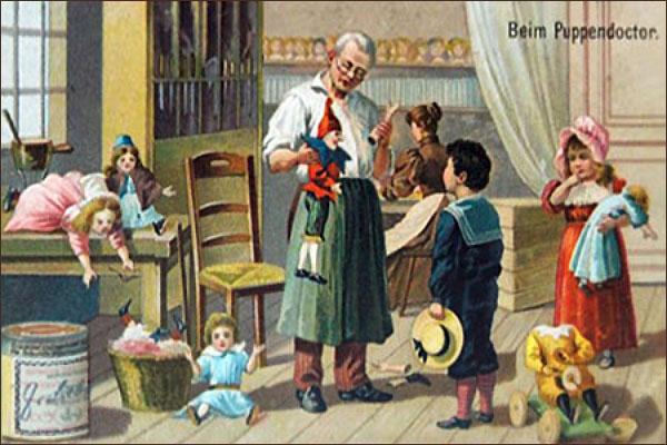 Sammelbild: Kinder in Puppendoctor's Werkstatt - 1910