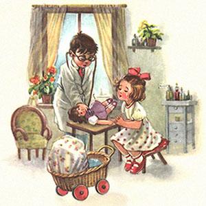 Farblitho: Puppenmutti weint, während Puppe untersucht wird - 1955