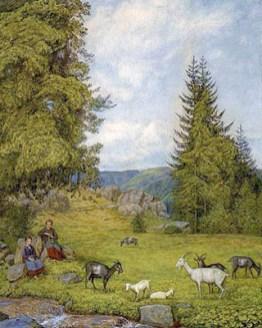 Gemälde: zwei Mädchen hüten Ziegenherde