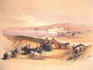 Farblitho: zwei Hirten mit rastender Ziegenherde