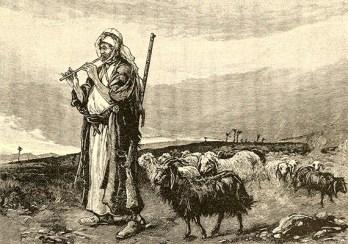 Holzstich: Flöte spielender orientalischer Hirte unterwegs mit Wollhaarziegen
