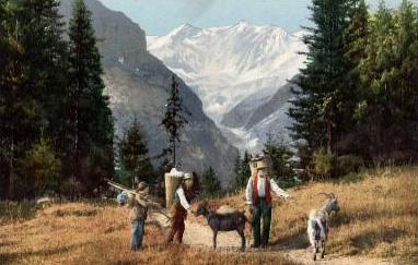 Gemälde: Bauern unterwegs mit 2 Ziegen als Lasttiere - 1900