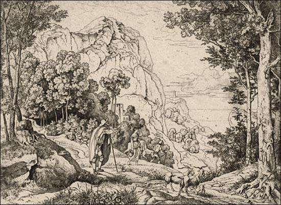 Kupferstich: Hirte mit Ziegen blickt ins Tal - 1828
