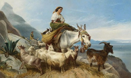 Gemälde: Hirtenpaar mit Ziegen auf dem Fels von Gibraltar -1871