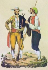 Farblitho: zwei Ziegenhirten im Gespräch