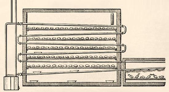 schem. Darstellung: Geflügel-Brutvorrichtung - 1831