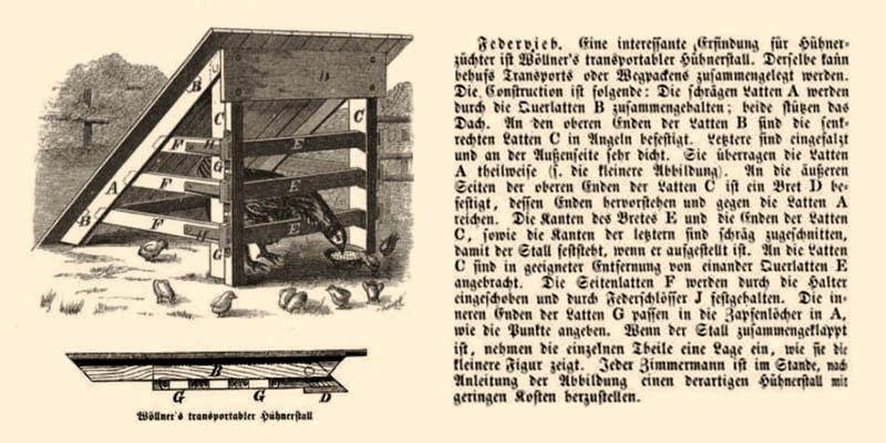 Abb.+ Beschreibung: Transportabler Hühnerstall - 1873