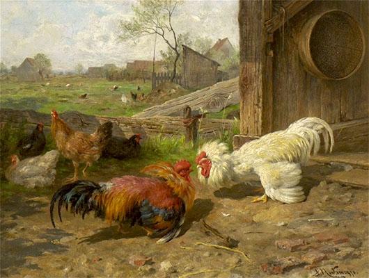 Gemälde: 2 balzende Hähne auf Hühnerfarm - 1870