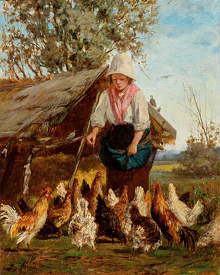 Gemälde: Bäuerin füttert Hühner - 1880